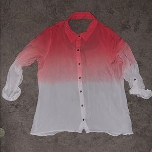 💗ombré pink to white button up shirt💗